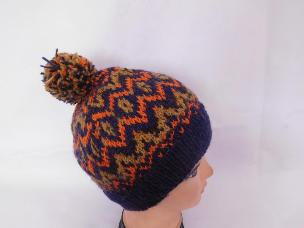 Muti colored multi pattern Pom Pom Hat - Rochak Handknit